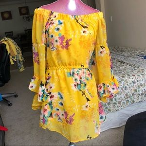 Adorable vivid yellow off the shoulder dress